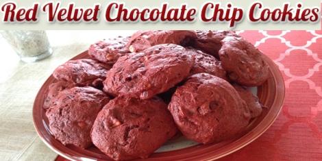 Red Velvet Chocolate Chip Cookies header image