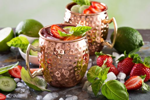 70185685 - moscow mule cocktail with lime and strawberry